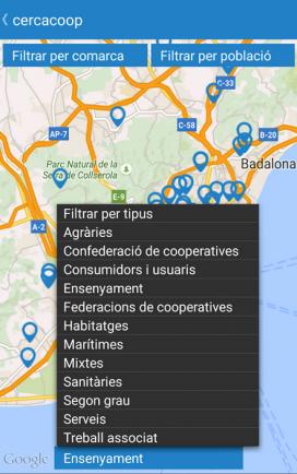 Podreu cercar les cooperatives mitjançant un mapa