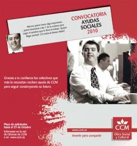 Cartell de la convocatòria d'ajudes socials de CCM