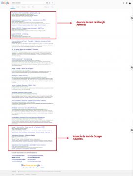 Els anuncis de text de Google Adwords es mostren a dalt i baix dels resultats de cerca