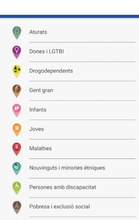 Captura de pantalla del mapa de les entitats del tercer sector.
