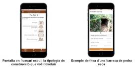 Es poden identificar divers tipus de construccions i pujar les fitxes a l'app