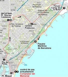 Mapa de la Caminada Solidària per les persones refugiades.