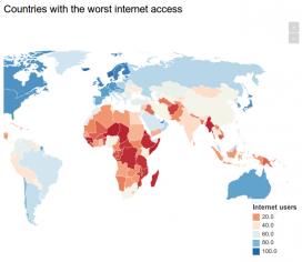Mapa dels països amb pitjor accés a Internet