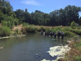 Personal de Repsol Tarragona en tasques de recuperació del riu Gaià amb l'Associació Mediambiental La Sínia