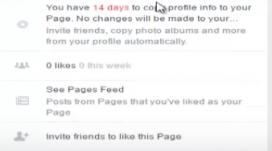 Captura de pantalla on es veu l'avís que comenta Facebook de les eines per acabar de transformar la pàgina