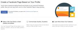 Captura de pantalla de la opció de Facebook per convertir un compte personal en una pàgina de Facebook.