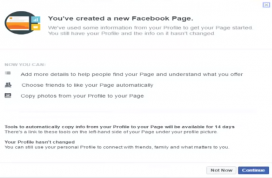 Captura de pantalla del procés de transformació de convertir una compte personal de Facebook en una pàgina de Facebook.