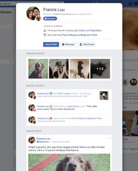 Perfils personals dins d'un grup de Facebook.