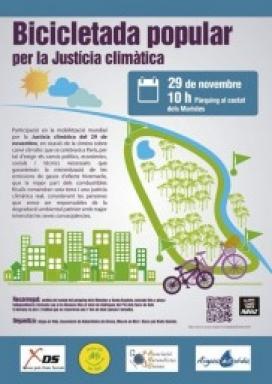 Bicicletada a Girona dintre dels actes de la Marxa pel clima (imatge:natualistesgirona.org)