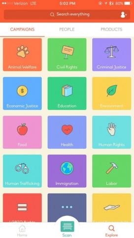 La app s'organitza en campanyes sobre diverses temàtiques (imatge: buycott.com)
