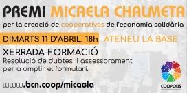 Xerrada-formació del Premi Micaela Chalmeta. Font: Twitter de Coòpolis
