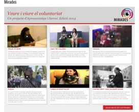 Pàgina web del projecte 'Mirades' (Font: voluntaris.cat)