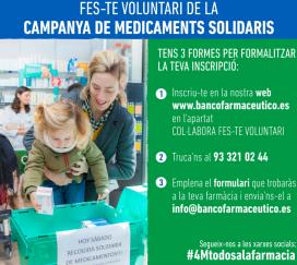 Les persones voluntàries seran les encarregades d'animar els ciutadans a comprar algun medicament del llistat (Font: Banc Farmacèutic)