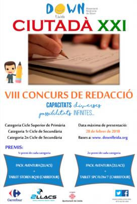 Cartell del 8è Concurs de Redacció Ciutadà XXI.