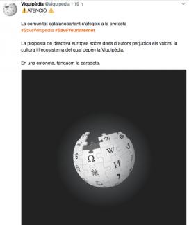 La Viquipèdia tanca per mostrar el seu rebuig a la proposta de directiva europea sobre drets d'autor