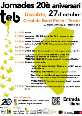Cartell de la jornada dels 20 anys de l'Associació per a Joves TEB