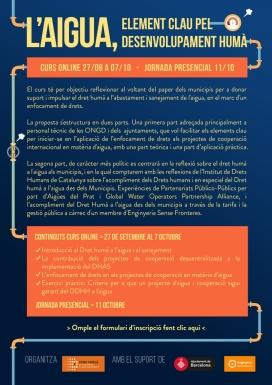 Cartell del curs online L'Aigua, element clau pel desenvolupament humà