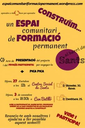 Cartell de la presentació del projecte  / Foto: Espai de Formació Permanent