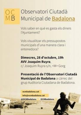 Cartell de l'acte de presentació del nou observatori ciutadà