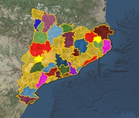 Mapa amb les 42 comarques catalanes