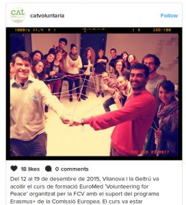 La Fundació Catalunya Voluntària comparteix a Instagram una foto de la formació de voluntaris/àries. Font: Instagram @catvoluntaria