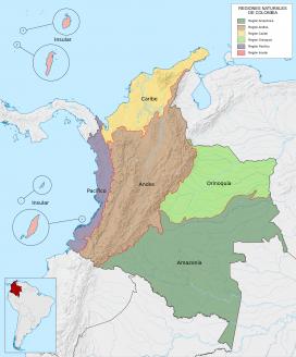 Mapa de regions de Colòmbia. Font: Wikipedia