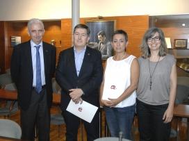 D'esquerra a dreta Jordi Tous, vicerector d'Universitat i Societat, Josep Anton Ferré, Montserrat Gatell i Inma Pastor, directora de l'Observatori de la Igualtat de la URV (Font: URV)