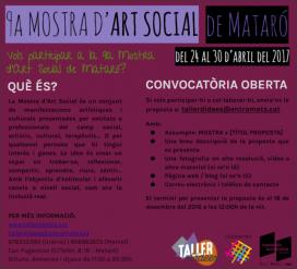 Convocatòria oberta per participar a la 9a Mostra d'Art Social de Mataró. S'ha ampliat el termini de participació fins al 31 de gener. Font: Taller d'Idees