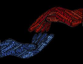 Il·lustració que mostra dues mans a punt de tocar-se, que inclouen paraules clau del món cooperativista