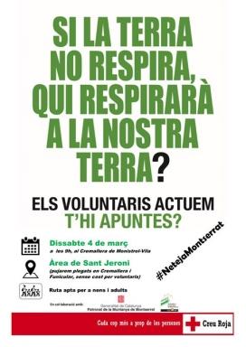 El 5 de març està programada una acció de voluntariat ambiental a Sant Jeroni (imatge: CR Montserrat)