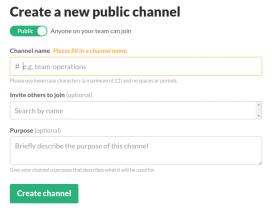 A Slack podreu configurar molts canals.