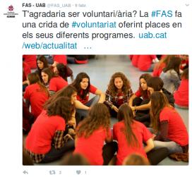 Crida al voluntariat de la FAS. Font: Twitter de la FAS