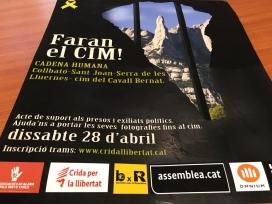 Cartell de l'acte de suport als presos polítics 'Faran el cim! Un cim per al llibertat