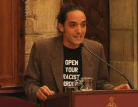 David Zorrakino durant el discurs. Font: BTV
