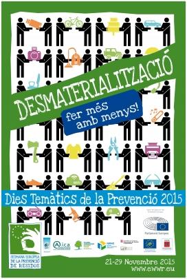 """Cartell de """"Desmaterialització"""", dia temàtic de la Setmana Europea de Prevenció de Residus 2015"""