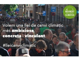 El divendres 30 de setembre la Plataforma compareix al parlament amb altres entitats ambiental, per la proposta de Llei del Canvi Climàtic (imatge: moviment justícia climàtica)