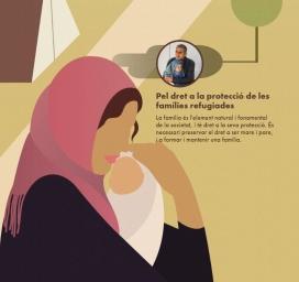 """Il·lustració de la campanya """"Donem"""" llum per protegir les famílies refugiades. Font: Donem Llum"""