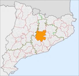 Mapa de Catalunya amb la comarca del Bages ressaltada (Font: Consell Comarcal del Bages)