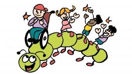 Il·lustració d'un centpeus amb infants jugant