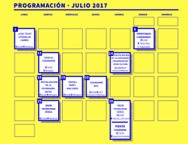 Calendari amb les sessions de l'Escola cívica
