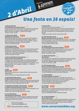 Les activitats es desenvoluparan en 16 espais diferents a la ciutat de Barcelona (Font: connectatalblau.org)