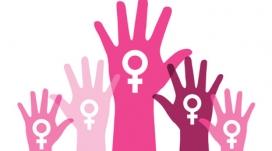 Dibuix amb mans i símbols feministes
