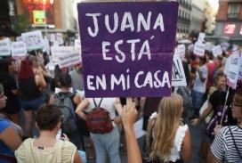 Una pancarta de suport a Juana Rivas