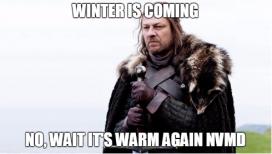 """""""Winter is coming"""" és l'emblemàtica frase que dóna títol al primer capítol de la sèrie, i que és pariodiada en la campanya (imatge:greenpeace)"""