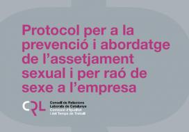 Portada del protocol que proposa la Generalitat per prevenir i actuar davant casos d'assetjament sexual en organitzacions