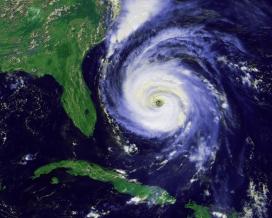 Visió satèl·lit d'un huracà. Font: Wikipedia