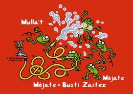 Il·lustració feta per Kukuxumusu d'unes granotes jugant a mullar-se
