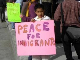 Nen pancarta manifestació