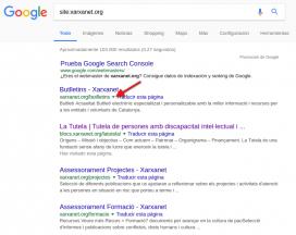 Mitjançant el resultat de la cerca podreu saber quin és l'últim dia que Google va indexar la vostra pàgina
