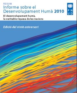 Portada de l'edició catalana de l'Informe sobre desenvolupament humà 2010